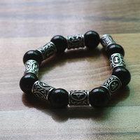 Retro Lava stone Beads Viking rune talisman Bracelet For Men and Women