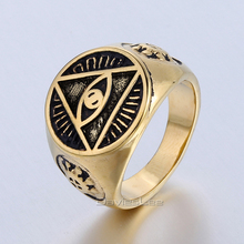 Illuminati The All-seeing-eye illunati pyramid/eye symbol 316L Stainless steel Signet Ring Mens Fashion Jewelry DLHR416