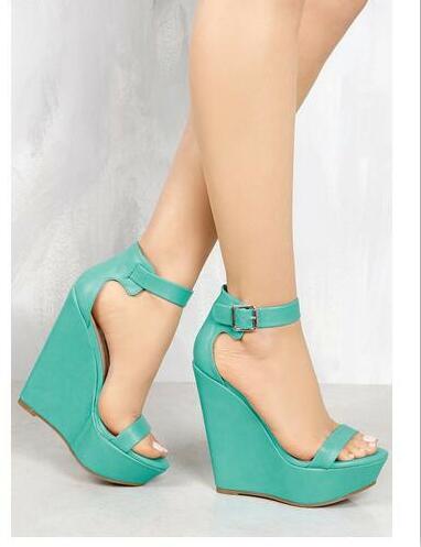 b239e37c647 Cuñas sandalias de plataforma de tacón alto de las mujeres gruesas sandalias  de tacón alto sandalias de punta abierta hebilla de correa de color caqui  negro ...