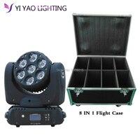 Caso de vuelo 8 unids/lote led de 7x12W lavado luz con cabezal móvil para escenario rgbw china cabezales móviles