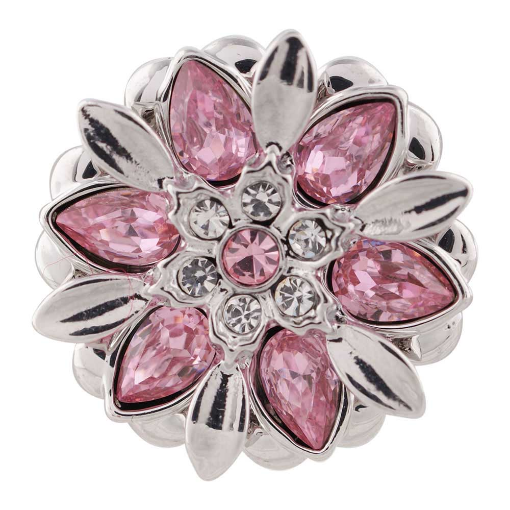 10pcs lot 2018 18mm Alloy Flower Fashion Snap Button Charm Rhinestone Button ginger Crystal Snaps Jewelry fit 18mm snap bracelet in Charm Bracelets from Jewelry Accessories