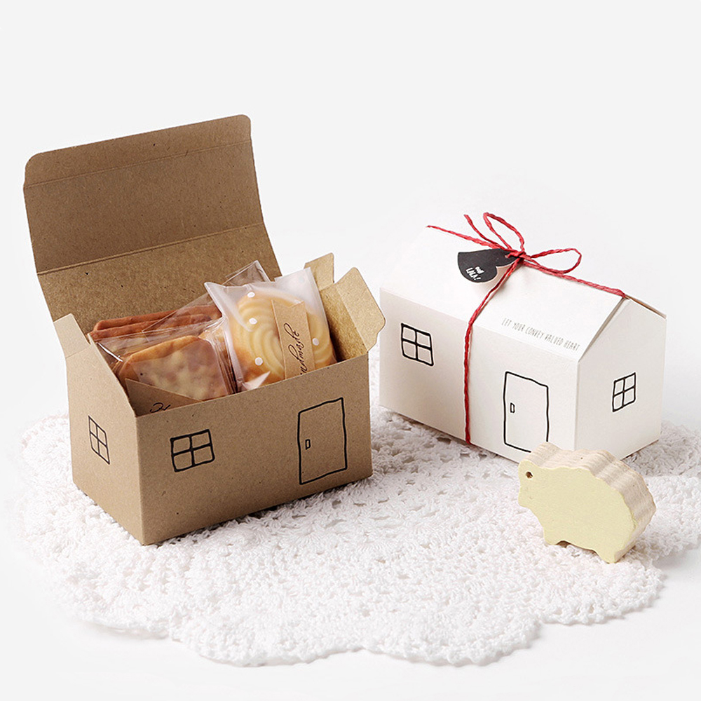 House Paper Gift Boxes 20Sets White Kraft Party Favor Box Gift Package Candy Box Wed Box Bag Set String Gift Tag Included