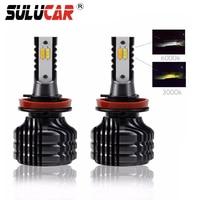 SULUCAR H7 LED H4 12V H11 9005 9006 2Pcs Mini Car Headlight Bulbs Dual Color In One 80W Auto Led Front Fog Lamp Headlamp