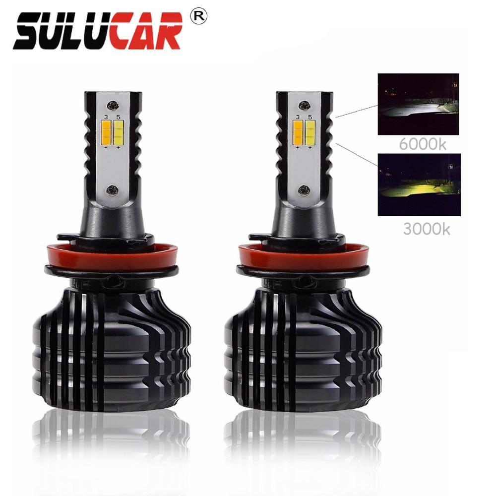 SULUCAR H7 led H4 12 V H11 9005 9006 2 pièces Mini Voiture ampoules de phare Double Couleur Dans Un 80 W auto led Avant Phare Feu De Brouillard