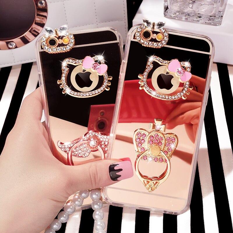 Fashion Luxury Mirror Cover Hello Kitty Stand Holder Diamond Gem