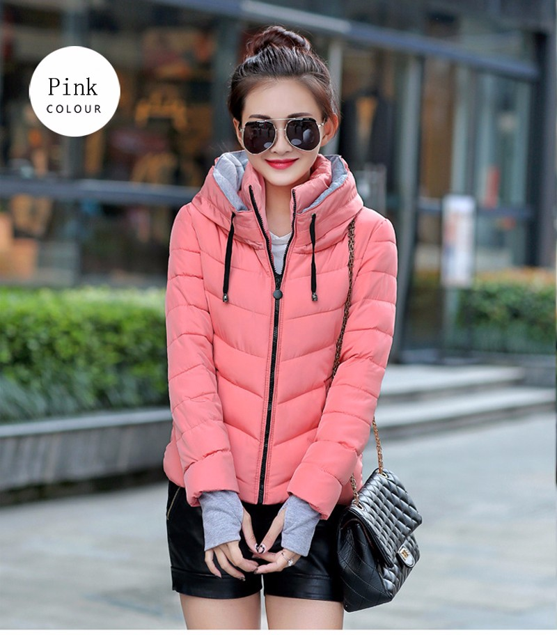 Winter Jacket Women Parkas Thicken Outerwear solid hooded Coats Short 29