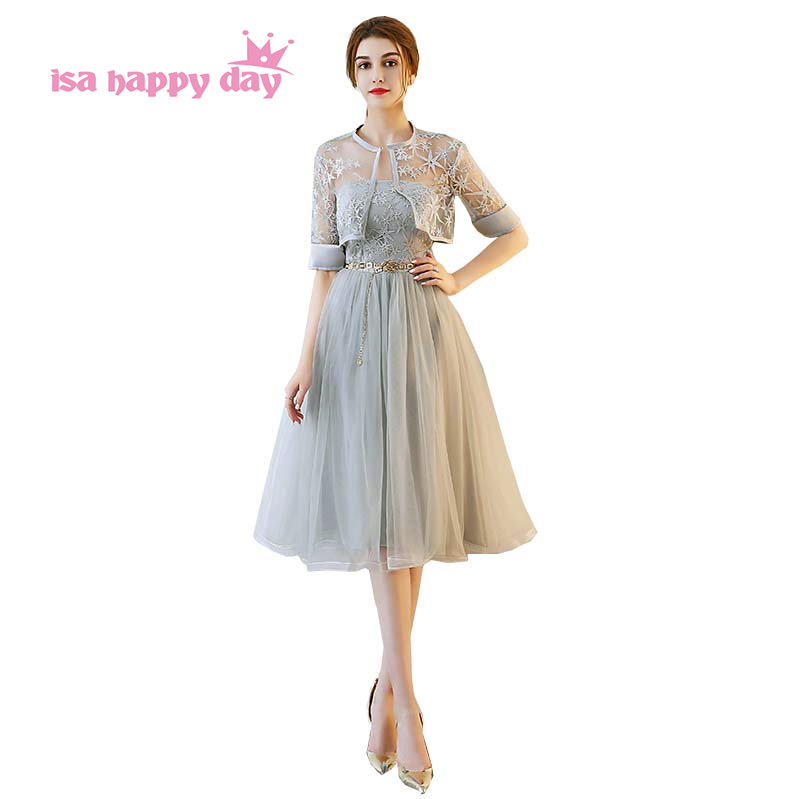 bridesmaid     dress   lace half sleeve girl gray party   dresses   2019 special occasion elegant fancy party short ball gowns H4154