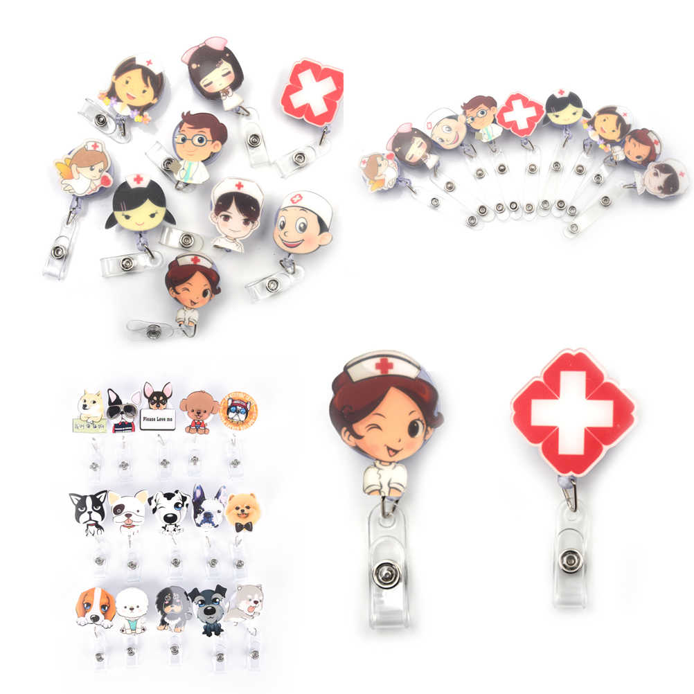 1 pcs Unisex Cute Cartoon Mini Retractable Badge Reel Nurse Lanyards ID Name Card Badge Holder Clip Student Nurse Badge Holder