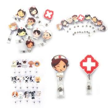1 pcs Unisex Cute Cartoon Mini Retractable Badge Reel Nurse Lanyards ID Name Card Holder Clip Student