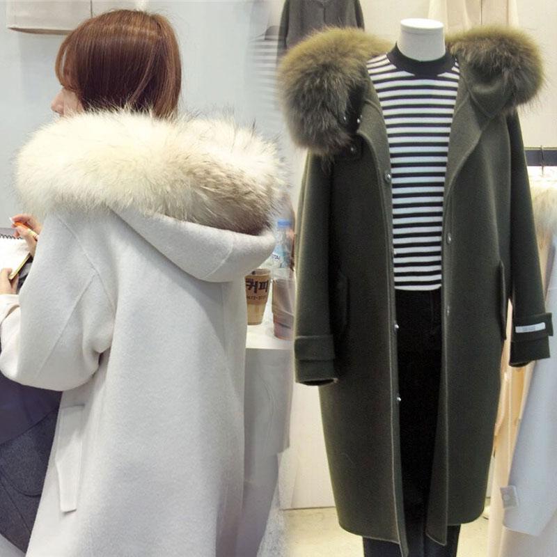Kašmírový vlněný kabát samice 2017 podzimní a zimní bunda s kapucí tenká to byla tenká a dlouhá sekce Štíhlý vlněný kabát