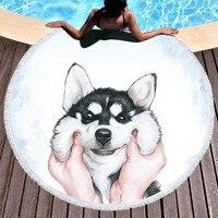 Round Beach Towel for Kids Adults Cute Dog Cartoon Printed Tassel Yoga Mat Large Towel Microfiber Toalla Blanket