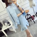 woman clothing set 2017 spring and autumn knitted sweaters outerwear + slim flounced sleeveless dress RM-136