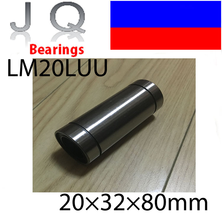 JQ Bearings 2pcs/lot Free Shipping LM20LUU long type 20mm linear ball bearing CNC parts for 3D printer free shipping 2pcs lot sc35vuu sc35suu linear case unit bearings