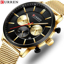 CURREN Men Watch Golden Business Fashion Slim Mesh Stainless Steel Quartz Calendar Chronograph Multifunctional Waterproof Clock