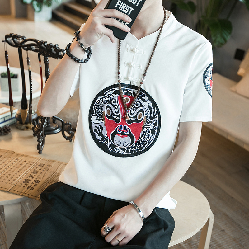 Chinese Style Facebook Embroidery Men T Shirt Summer Short Sleeve Pan Kou Linen Mens T-Shirts Plus Size Casual Tee Shirt Homme
