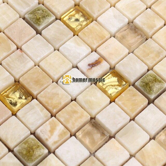 Mini Beige Farbe Stein Gemischten Spiegel Glas Mosaik Fliesen Für  Wohnzimmer Küche Backsplash Badezimmer Kamin Design