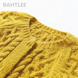 Image 5 - BAHTLEE Winter Long Sleeve Warm Mohair Cardigan Knitting Wool Jacquard Weave Sweater Women O Neck Jumper Pocket Mustard Yellow