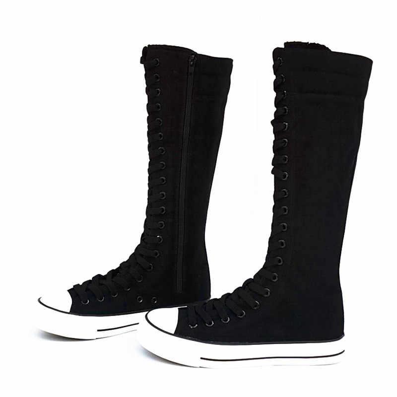 2019 ผู้ใหญ่แฟชั่น Gothic PUNK ผู้หญิงรองเท้าผู้หญิงเข่าสูงด้านซิปรองเท้าผ้าใบรองเท้า 35-43 จัดส่งฟรี