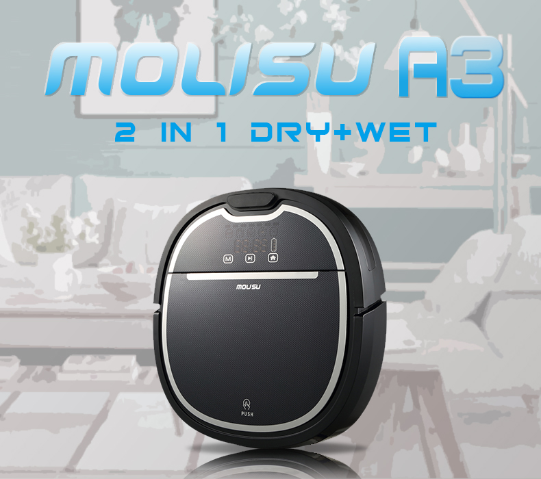 Wet and Dry A3 Robot Vacuum Cleaner for Home 1000PA Efficient HEPA 750ml Dustbin 180ml Water tank Self Charge ROBOT ASPIRADOR