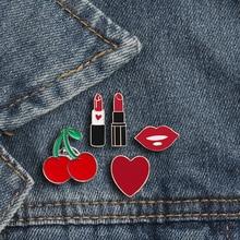 79ac0528d19ec Broches para as mulheres princesa batom lábio amor coração cereja esmalte  pin botões mini emblemas bonito saco de jóias roupas a.