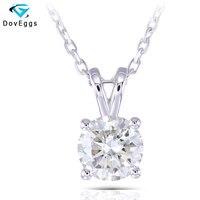 DovEggs Платиновое Покрытие серебро 2CTW 8 мм GH цвет Выращенный в лаборатории Муассанит алмаз кулон ожерелье для женщин Повседневная одежда ювел