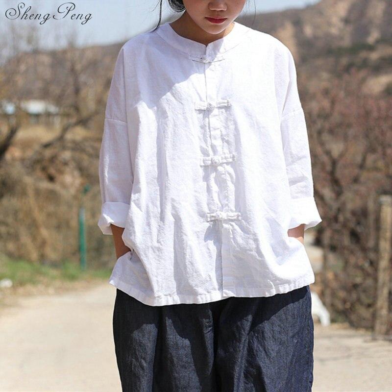 Vêtements chinois traditionnels décontracté hauts amples blouse marché chinois en ligne traditionnel chinois petit haut Q329 - 2