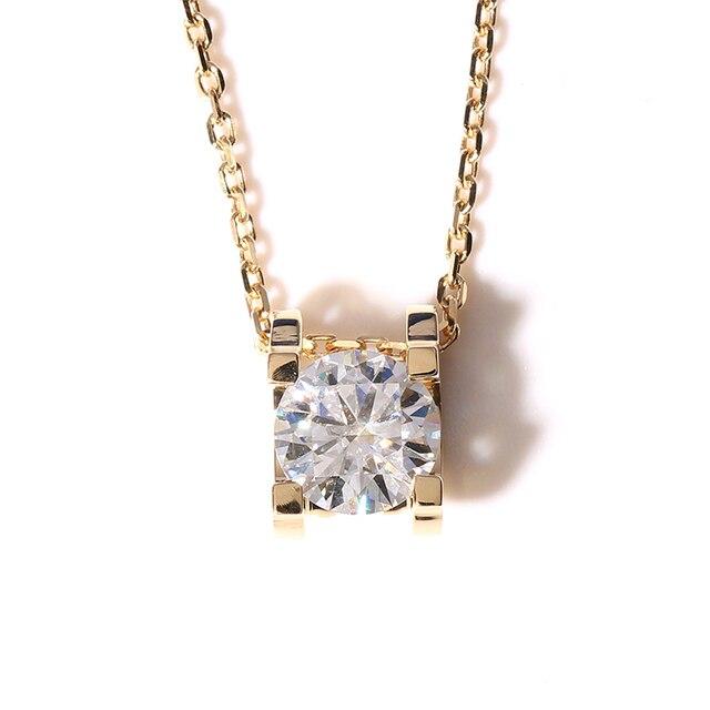 Queen brilliance surpreendente 1 carat real 18 k 750 ouro amarelo ct F Cor Lab Grown Moissanite Diamante Pingente & Colar Para mulheres