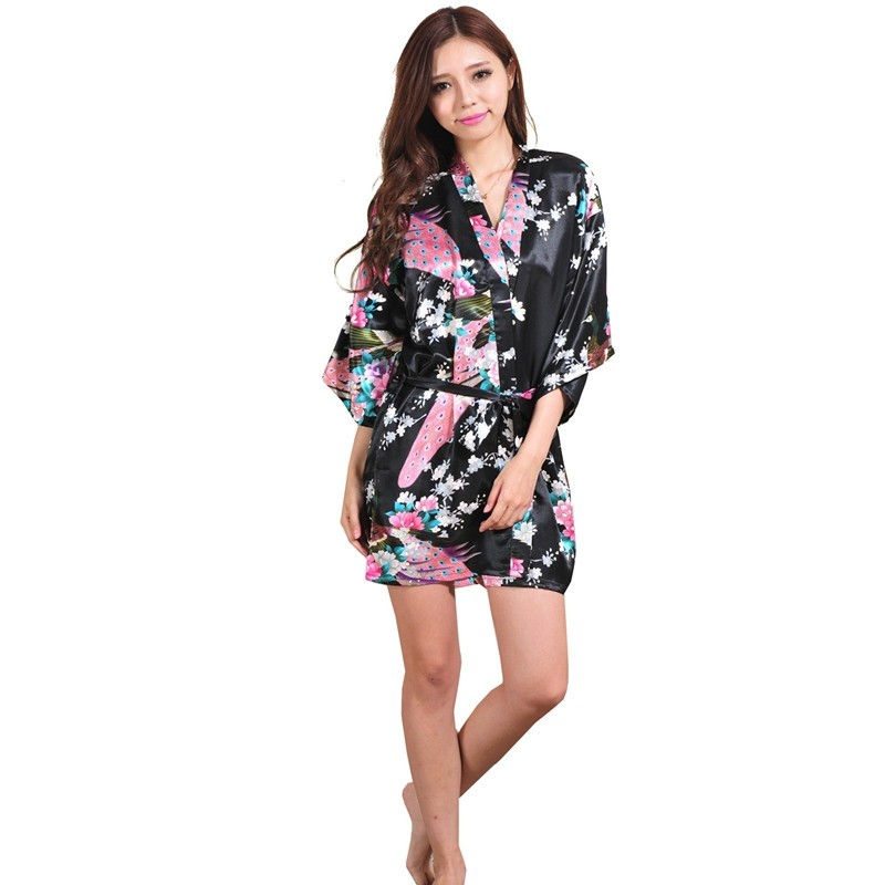 Silk Satin Robe Floral Night Gown For Women 1
