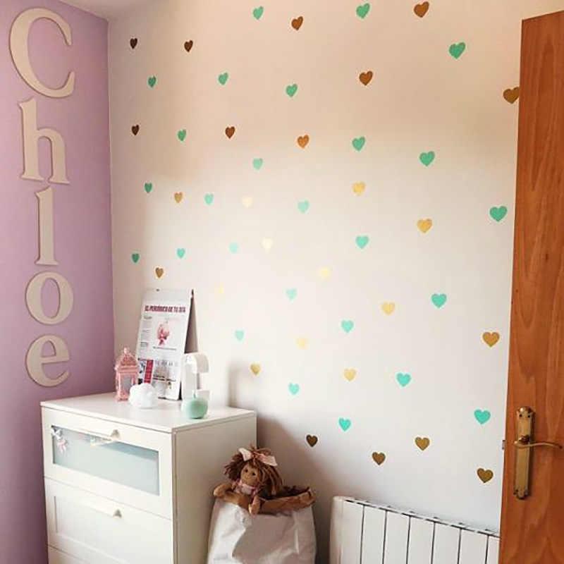 Adhesivo para pared de corazón para la habitación de los niños bebé niña habitación pegatinas decorativas habitación de guardería calcomanía de pared pegatinas decoración del hogar