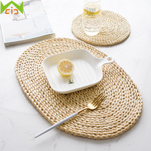 WCIC Natural Straw Placemats Woven Cup Coasters Dining Table Mats Rattan  Drink Coaster Heat Insulation Mats
