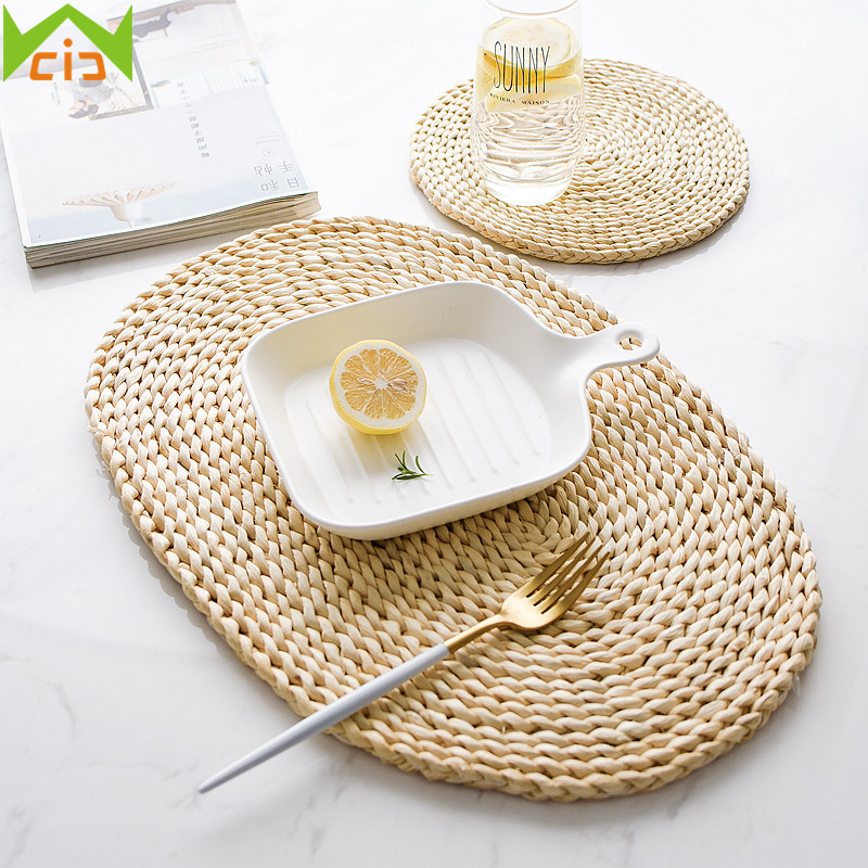Wcic Natural Straw Placemats Woven Cup Coasters Dining