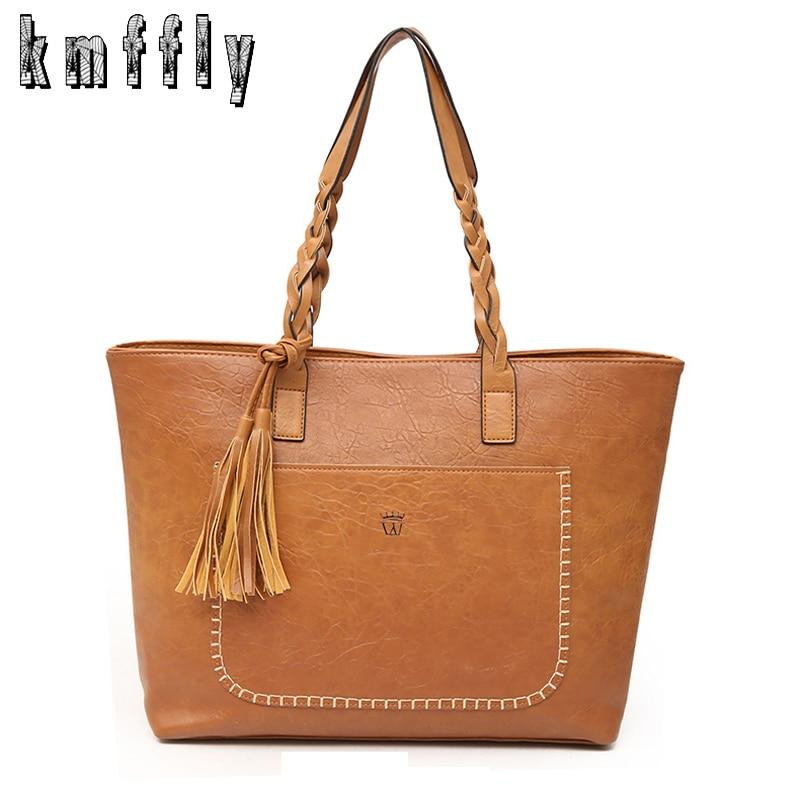 KMFFLY Luxury Designers PU Leather Handbags 2018 Big Capacity Shopping Bag Women Shoulder Bags Women Messenger Bags With Tassel
