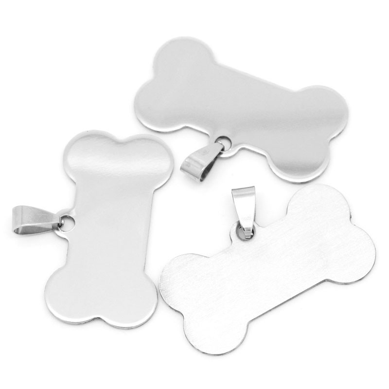 60Pcs Silver Tone Dog Bone Animal Blank Stamping Tags Stainless Steel Pendants Jewelry Findings Charms 2.9x4cm(1 1/8