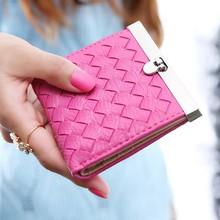 Купить с кэшбэком Fashion Women Wallets marca dragon color PU Leather woven short Wallet hasp Day Clutch Purse Wristlet Handbags Coin Purse 7Color