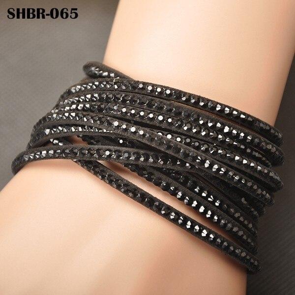AENINE Fashion Colorful Leather Charms Bracelet Jewelry Rhinestone Crystal Wrap