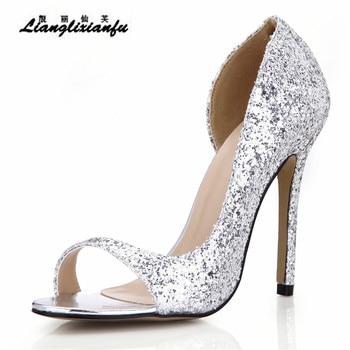 LLXF stilettos zapatos Ladies Open Toe D'Orsay shoes woman 12cm thin heels Sandals female Gold Sliver Sequins Ankle strap Pumps