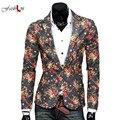 Coreano Homens Casuais Terno Impressão Vestido Floral Cor Da Moda Jovem Roupas Trajes Boate Cabeleireiro Masculino Casaco Fino