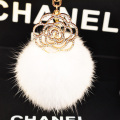 Cute Genuine Leather Rabbit fur ball plush key chain for car key ring Bag Pendant car keychain luxury rhinestone