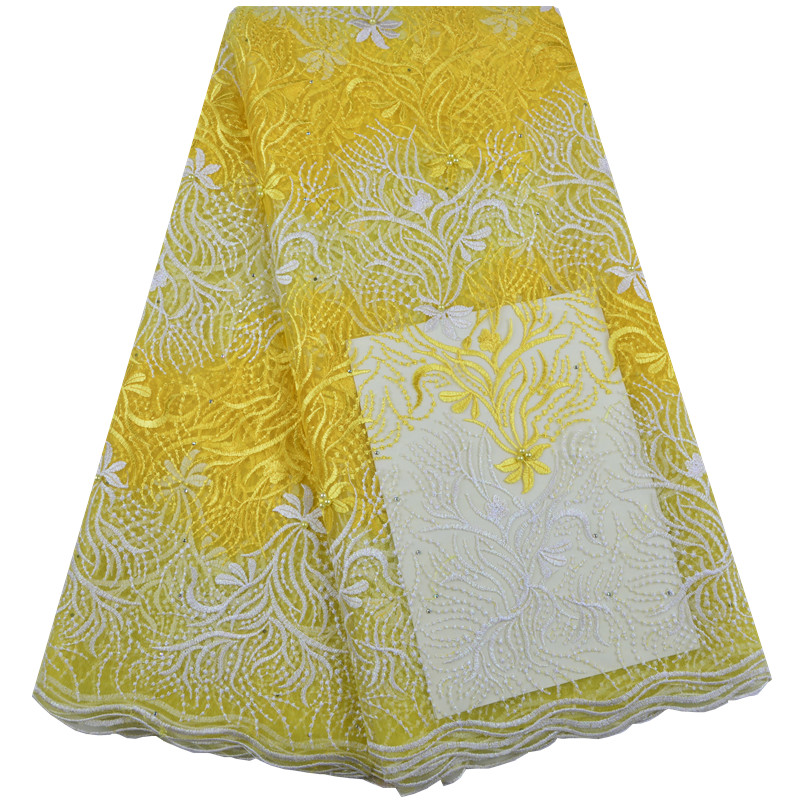 Yellow African Lace Fabric High Quality Lace French Net Bridal Lace Fabric Nigerian Embroidery Tulle Mesh