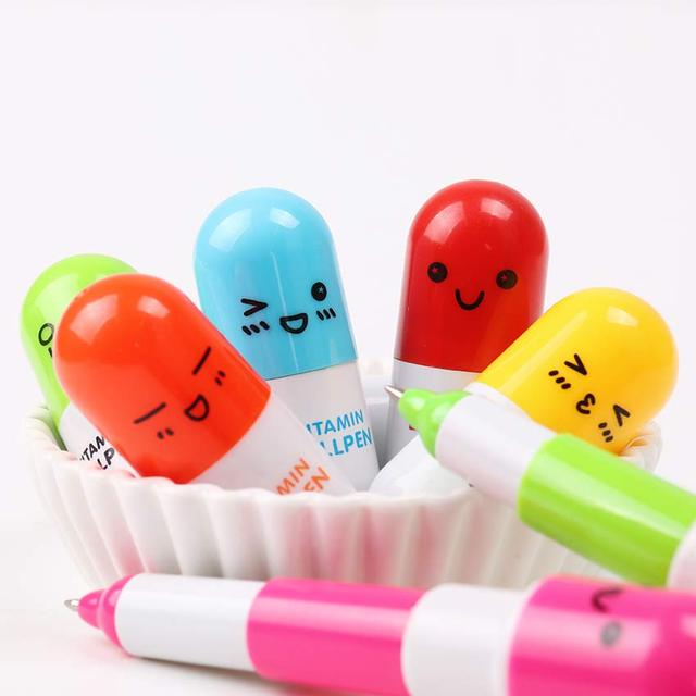 6 PCS/lot Lovely Kawaii Pill Ballpoint Pen Cute Telescopic Vitamin Pill Novelty Ballpen Learning Supplies