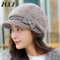 Winter women's hats Knitted a Cap Snapback Beret Cap Elegant Lady Peaked Cap Rabbit Fur Warm Skullies &Beanies Women Hats Gorro