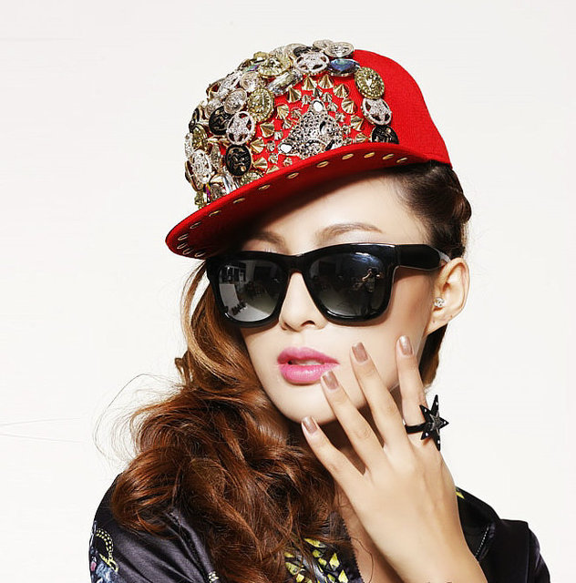 5pcs/lot free shipping  unisex  ladygaga Punk rivet hip-hop spike hat leopard rivet flat brim hat rock/street dancing