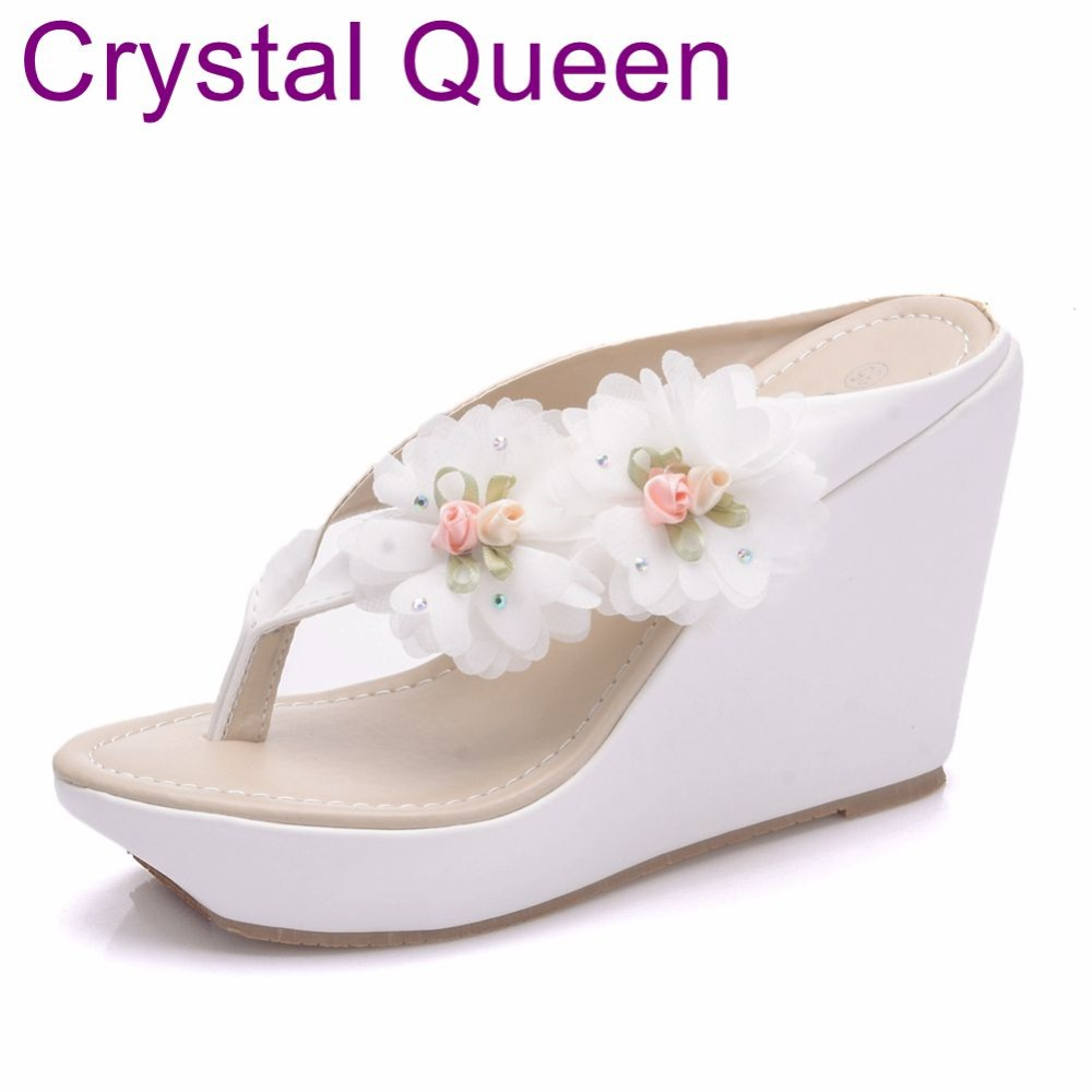Crystal Queen Wedges Shoes Sandals 2018 Summer Sandals Women Flower
