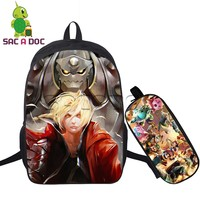 Anime Fullmetal Alchemist Backpack Women Men 2pcs Set School Backpack For Teens Students Edward Elric Prints
