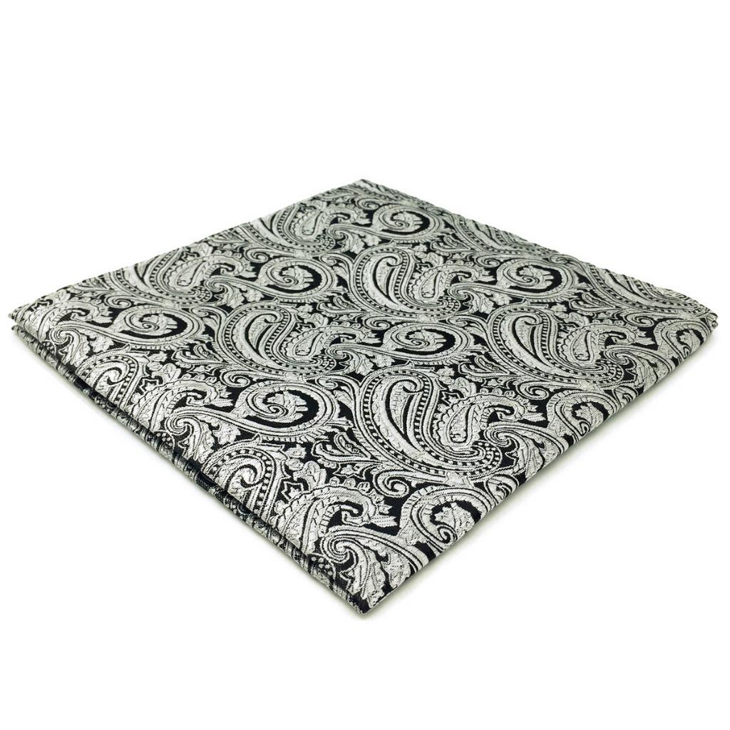 EH23 Silver Paisley Mens Pocket Square Fashion Wedding Handkerchief Classic Dress Hanky