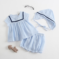2018 Summer Infant Toddler Baby Girl Rompers Striped Sets Tops Pants Hat 3pcs Baby Clothings