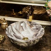 Bathroom washbasin marble ceramic basin art basin Counter Basin above round gray gold petals LO621141