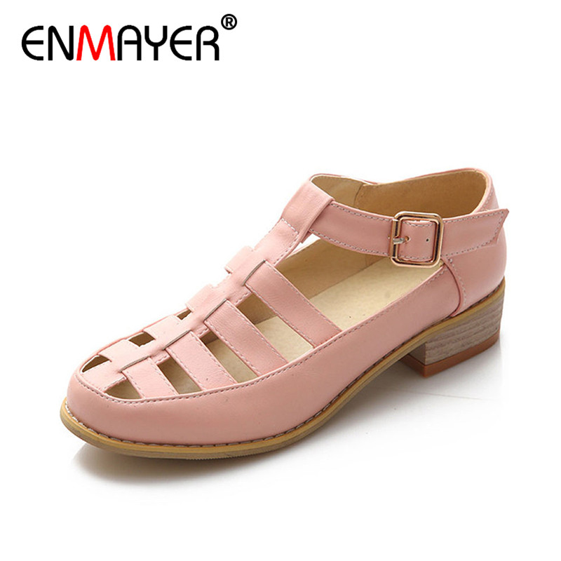 ENMAYER Summer Shoes Comfortable Square Heel T-Strap Women Sandals for Lady Shoes Buckle Strap Leisure Close Toe 34 43 Sandals xiaying smile summer new woman sandals platform women pumps buckle strap high square heel fashion casual flock lady women shoes