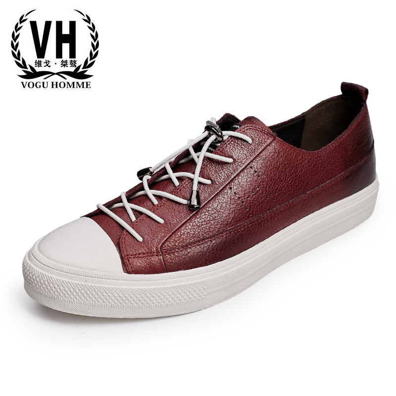 vogu homme men's leather shoes in British fashion daily leisure shoes all-match breathable shoes head low to help men casual shoes breathable all match male british leather breathable sneaker fashion shoes
