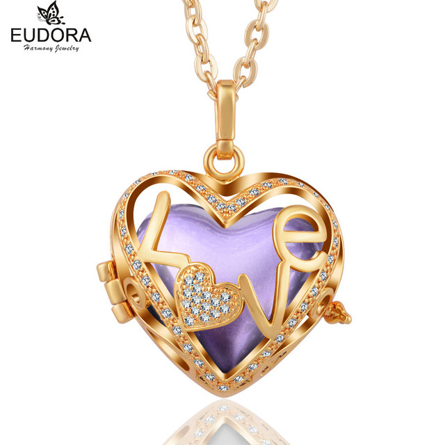"""Gold Plated Unique """"Love"""" Crystal Heart Harmony Bola Pendant Necklace Jewelry Fit Chime Ball Angel Caller Pendants Jewelry Gift"""